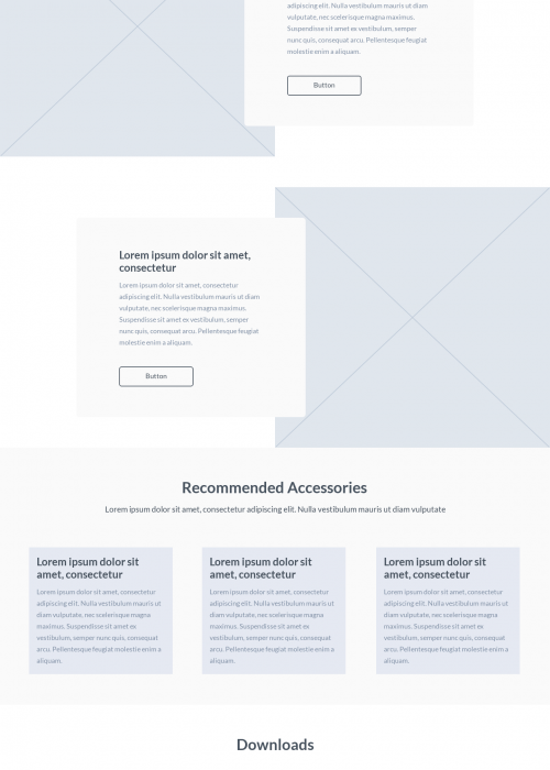 Product page UI wireframe
